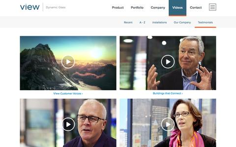 Screenshot of Testimonials Page viewglass.com - Videos | View Dynamic Glass - captured Aug. 29, 2016
