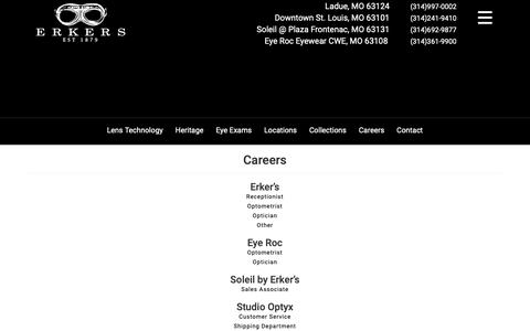 Screenshot of Jobs Page erkers.com - Careers | Erker's Fine Eyewear - captured Sept. 29, 2018
