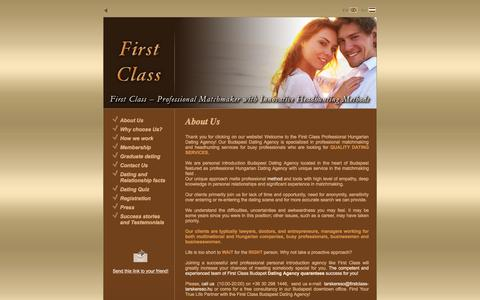 Screenshot of Home Page firstclass-tarskereso.hu - First Class Exclusive Dating and Matchmaking Agency - captured Sept. 8, 2015