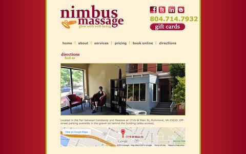 Screenshot of Maps & Directions Page nimbusmassage.com - Nimbus Massage - Glow with Well-Being - captured Oct. 9, 2014
