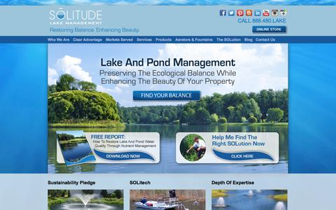 Screenshot of Home Page solitudelakemanagement.com - SOLitude Lake Management: Full-Service Lake And Pond Management - captured Sept. 30, 2014