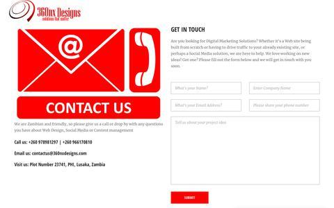 Screenshot of Contact Page 360nxdesigns.com - Contact 360nx Designs for Digital Marketing Solutions in Zambia - captured Nov. 6, 2018