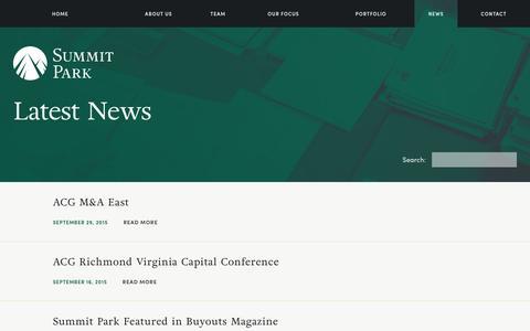 Screenshot of Press Page summitparkllc.com - Private Equity News | Summit Park LLC - captured Jan. 12, 2016