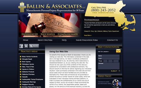 Screenshot of Terms Page ballinlaw.com - Ballin & Associates - Terms of Use - captured Feb. 7, 2016