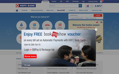 Screenshot of Home Page hdfcbank.com - HDFC Bank: Personal Banking Services - captured Feb. 7, 2019