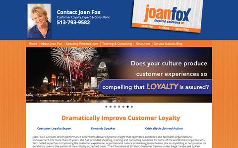 Screenshot of Home Page joanfox.com - Joan Fox - Customer Service and Service Leadership Expert - captured Nov. 9, 2018
