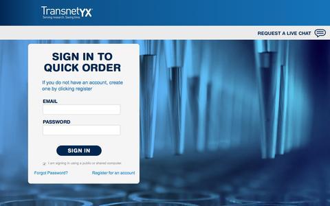 Screenshot of Login Page transnetyx.com - Transnetyx QuickOrder // Sign In - captured Dec. 3, 2016