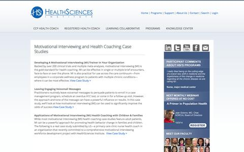 Screenshot of Case Studies Page healthsciences.org - Motivational Interviewing and Health Coaching Case Studies |  Motivational Interviewing (MI) and Health Coaching Training and CCP Certification from HealthSciences Institute - captured Oct. 2, 2014