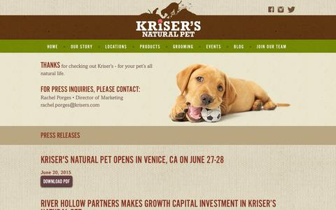 Screenshot of Press Page krisers.com - Press Releases & Media Coverage | Kriser's - captured Nov. 18, 2015