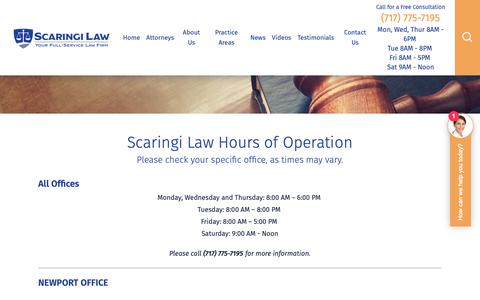 Screenshot of Hours Page scaringilaw.com - Hours | Harrisburg, PA Lawyer - captured Oct. 2, 2018