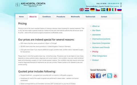 Screenshot of Pricing Page axis-hospital-croatia.com - Pricing   Axis Special Hospital Croatia - captured Oct. 4, 2014