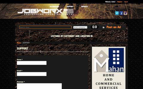 Screenshot of Support Page jobworx.us - SUPPORT   JOBWORX - captured Oct. 4, 2014