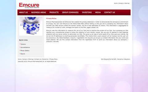 Screenshot of Privacy Page emcure.co.in - Emcure Pharmaceuticals Ltd. - Emcure Pharmaceuticals is one of the best  innovative pharmaceutical Companies, specializing company in the Manufacturing, Marketing, Research, Biotechnology, Active Pharmaceutical  Ingredients, pharma research, pharma p - captured Nov. 2, 2014
