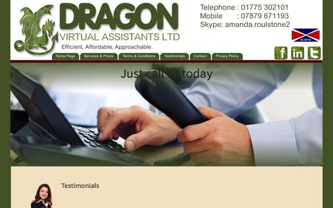 Screenshot of Testimonials Page dragonvirtualassistants.co.uk - Dragon Virtual Assistants Ltd - captured June 5, 2017