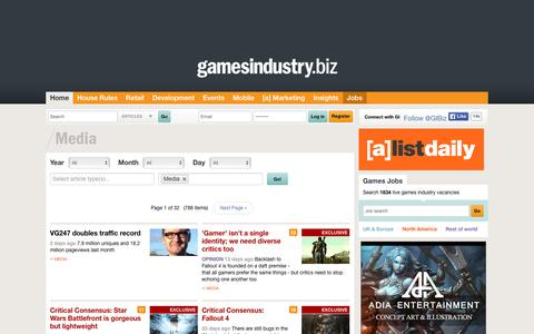 Screenshot of Press Page gamesindustry.biz - Media Archive  | GamesIndustry.biz - captured Dec. 3, 2015