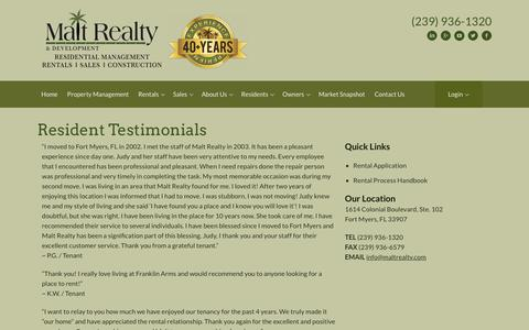 Screenshot of Testimonials Page maltrealty.com - Malt Realty & Development | Fort Myers| Resident Resources - captured Oct. 2, 2018