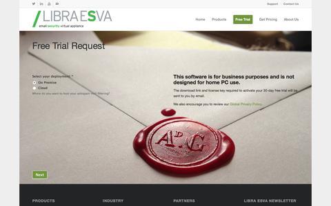 Screenshot of Trial Page libraesva.com - Free Trial - Libra Esva - captured May 18, 2017