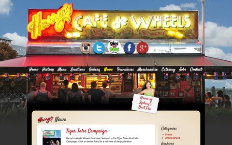 Screenshot of Press Page harryscafedewheels.com.au - News - Harrys Cafe De Wheels - captured Sept. 29, 2014
