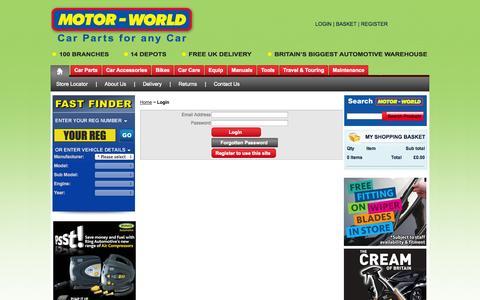 Screenshot of Login Page motor-world.co.uk captured Sept. 19, 2014