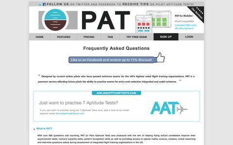 Screenshot of FAQ Page pilotaptitudetest.com - PilotAptitudeTest.com | FAQ - captured Oct. 2, 2014