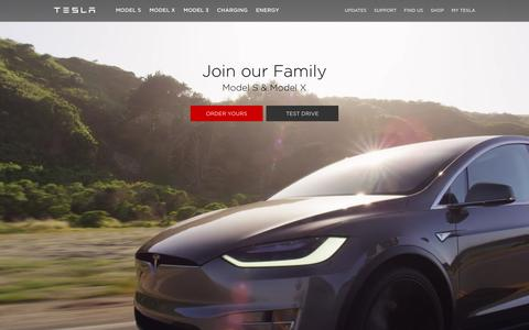 Screenshot of Home Page teslamotors.com - Tesla Motors | Premium Electric Vehicles - captured July 2, 2016