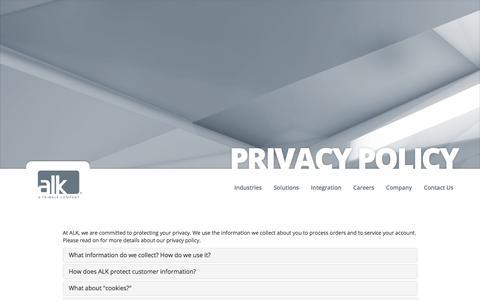 Screenshot of Privacy Page alk.com - ALK Technologies - Privacy - captured June 27, 2017