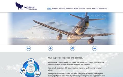 Screenshot of Home Page pegasussupply.com.au - Pegasus Supply Solutions: Supply of Duty and Excise free products for cruise lines, airlines, consulates and armed forces - captured Oct. 2, 2014