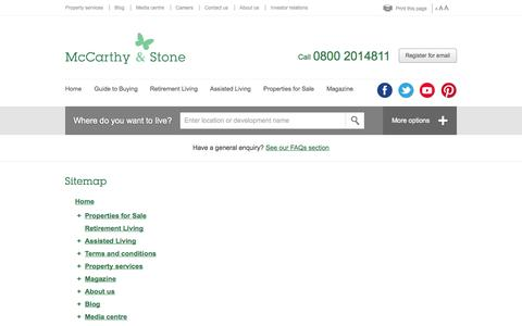 Screenshot of Site Map Page mccarthyandstone.co.uk - UK builder of retirement homes and flats - McCarthy & Stone - captured Oct. 27, 2014
