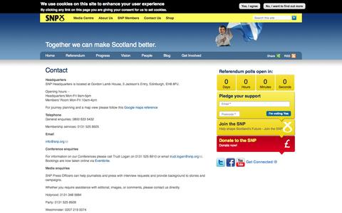 Screenshot of Contact Page snp.org - Contact | Scottish National Party - captured Sept. 19, 2014