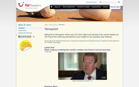 Screenshot of Blog tuitravelplc.com - Viewpoint | TUI Travel PLC - captured Sept. 24, 2014