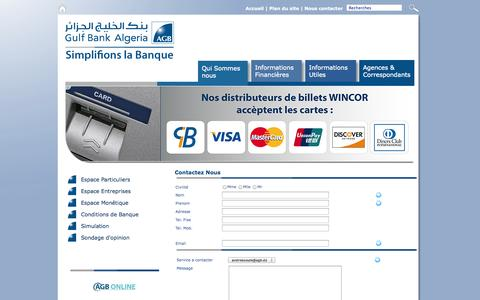 Screenshot of Contact Page ag-bank.com - Gulf Bank Algeria - captured Sept. 19, 2014