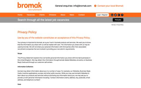 Screenshot of Privacy Page bromak.com - Privacy Policy | Bromak - captured Feb. 8, 2016
