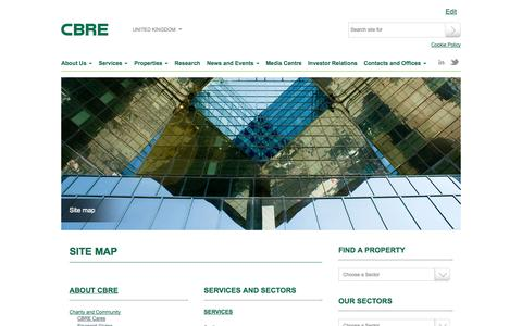 Screenshot of Site Map Page cbre.co.uk - CBRE: UK - Site Map - captured Sept. 23, 2014