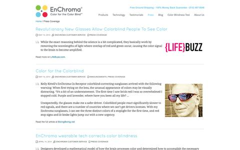 Screenshot of Press Page enchroma.com - Press Coverage | EnChroma - captured Sept. 16, 2014
