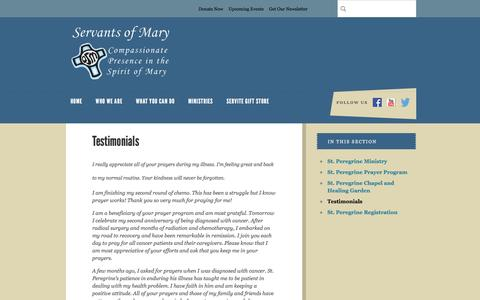 Screenshot of Testimonials Page osms.org - Servants of Mary : Ministries : St. Peregrine Ministry : Testimonials - captured Feb. 13, 2016