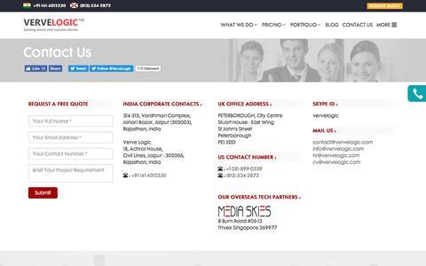 Screenshot of Contact Page vervelogic.com - Contact Us - captured Aug. 12, 2016