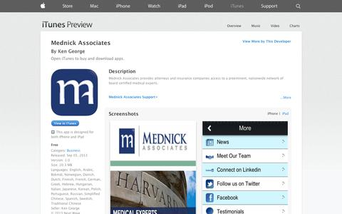 Screenshot of iOS App Page apple.com - Mednick Associates on the App Store on iTunes - captured Oct. 27, 2014