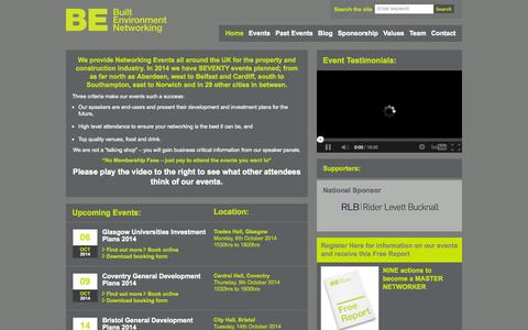 Screenshot of Home Page built-environment-networking.com - - Built Environment Networking Ltd - captured Oct. 5, 2014
