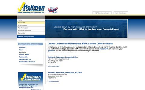 Screenshot of Locations Page ehscompliance.com - OSHA Compliance and EHS Management Denver, Colorado and Greensboro, NC | Hellman & Associates - captured Oct. 2, 2014