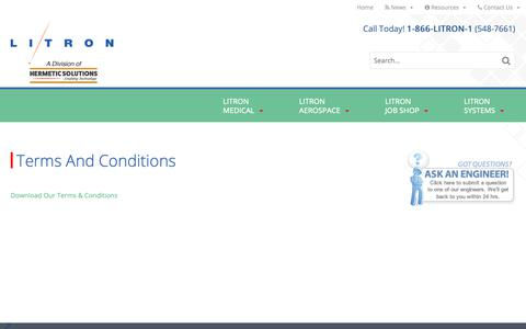 Screenshot of Terms Page litron.com - Terms and Conditions | Litron - captured Sept. 29, 2018