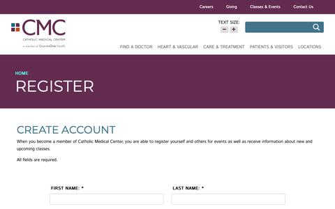 Screenshot of Signup Page catholicmedicalcenter.org - register - Catholic Medical Center - captured Nov. 4, 2018