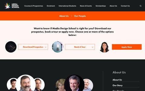 Screenshot of Team Page mediadesignschool.com - Digital Design Experts | Our People | Media Design School - captured Sept. 20, 2018