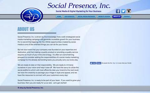 Screenshot of About Page socialpresence.net - Social Presence, Inc.   ABOUT US - captured Dec. 18, 2016