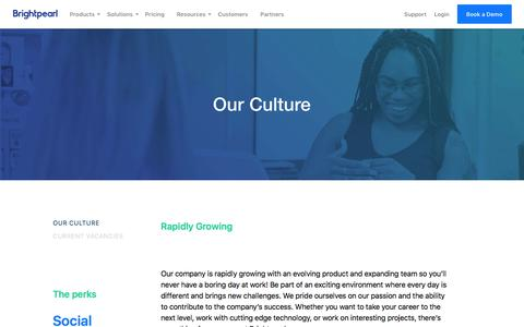 Screenshot of Jobs Page brightpearl.com - Careers - Our Culture - Brightpearl - captured April 12, 2018