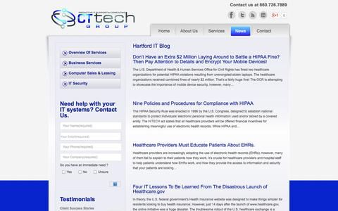 Screenshot of Press Page cttechgroup.com - Hartford It Blog | Hartford IT Services CT Tech - captured Sept. 26, 2014