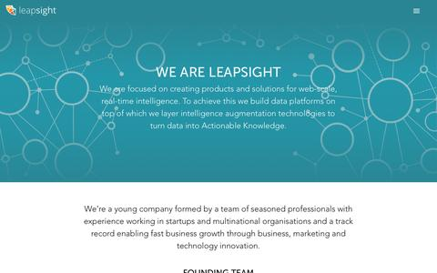 Screenshot of About Page leapsight.com - leapsight - captured July 12, 2016