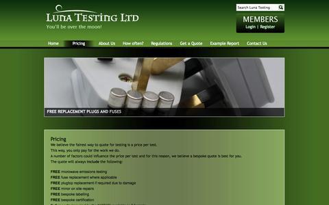 Screenshot of Pricing Page lunatestingltd.co.uk - Pricing - captured Sept. 30, 2014