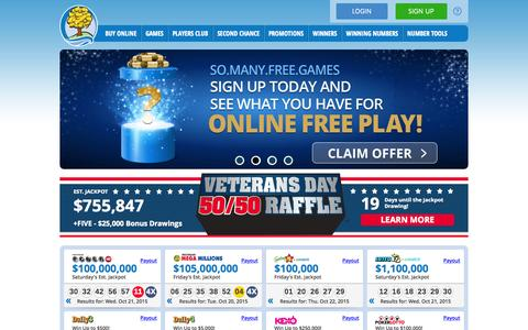 Screenshot of Home Page michiganlottery.com - Home | Michigan Lottery - captured Oct. 23, 2015