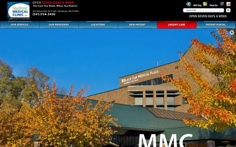 Screenshot of Home Page medfordmd.com - Medford Medical Clinic | The Care You Need, When You Need It. - captured Oct. 6, 2014