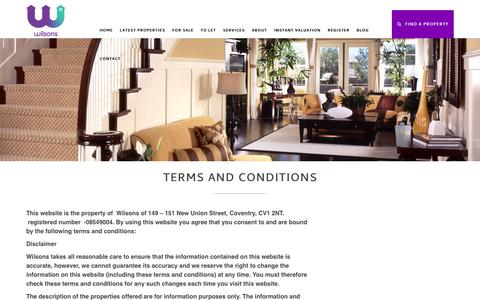 Screenshot of Terms Page wilsons.uk.com - Terms and Conditions - captured Oct. 20, 2018